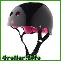 Triple Eight Brainsaver Glossy Helmet with Sweatsaver Liner black/pink